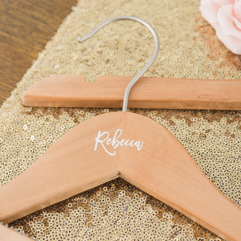 Personalized Wooden Bride and Bridesmaids Hangers - Calligraphic Name