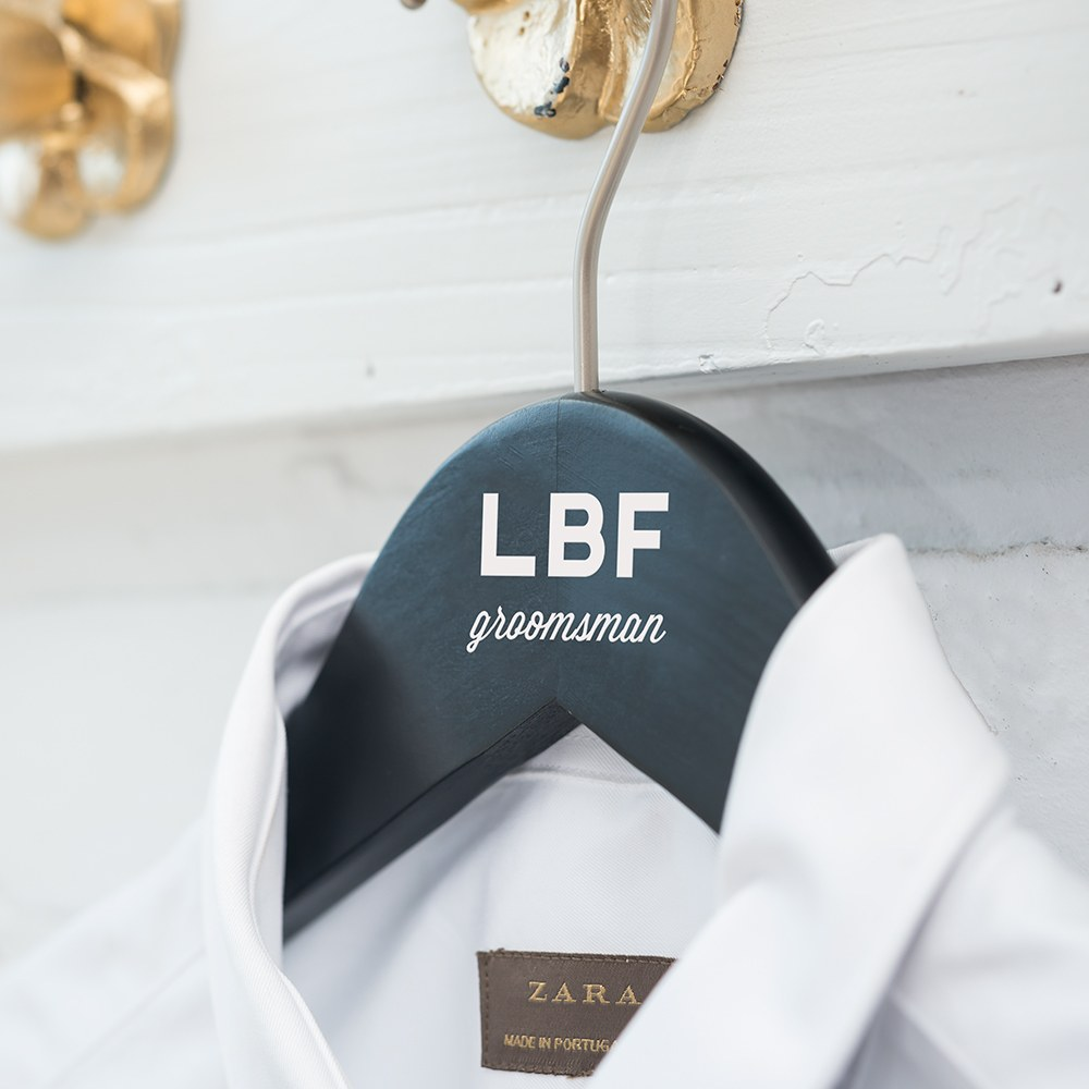 Personalized Wooden Groom and Groomsmen Hangers - Bold Monogram