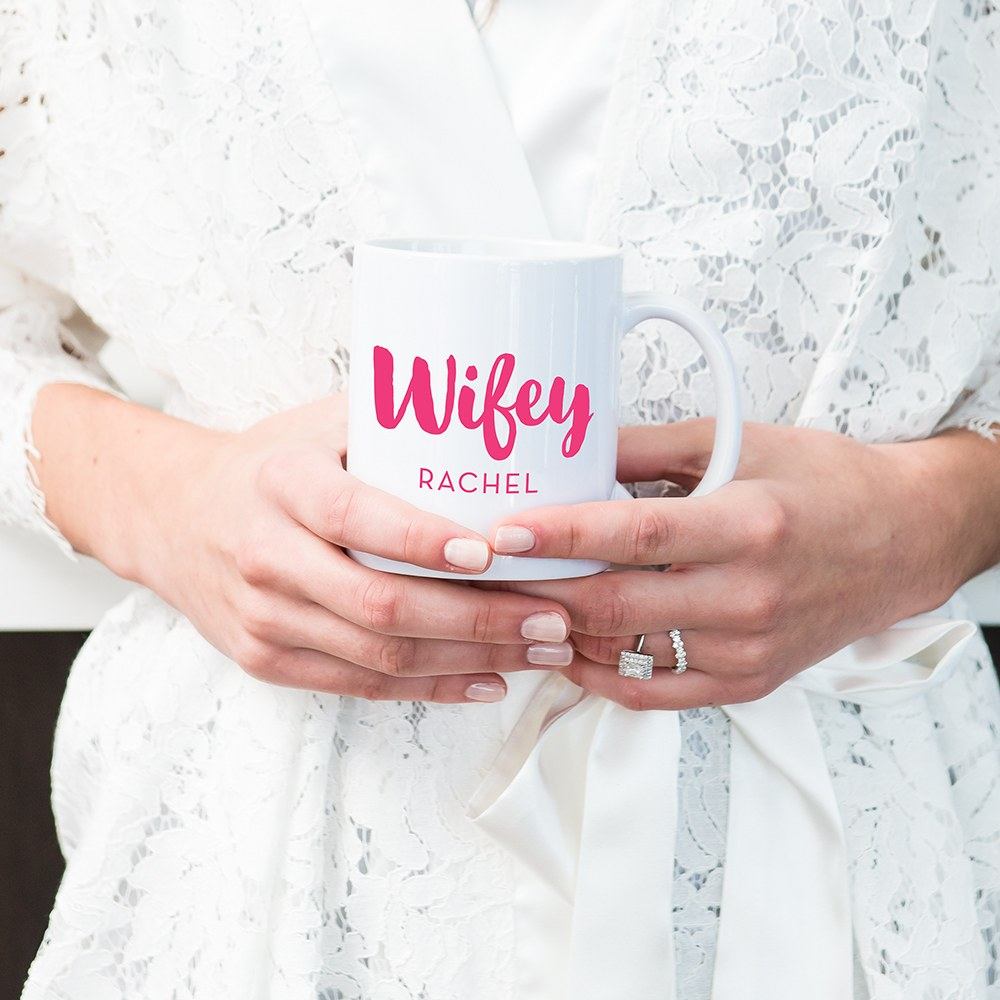 Custom White Ceramic Coffee Mug - Wifey Print