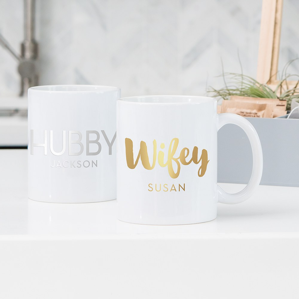 Custom White Ceramic Coffee Mug - Hubby Print