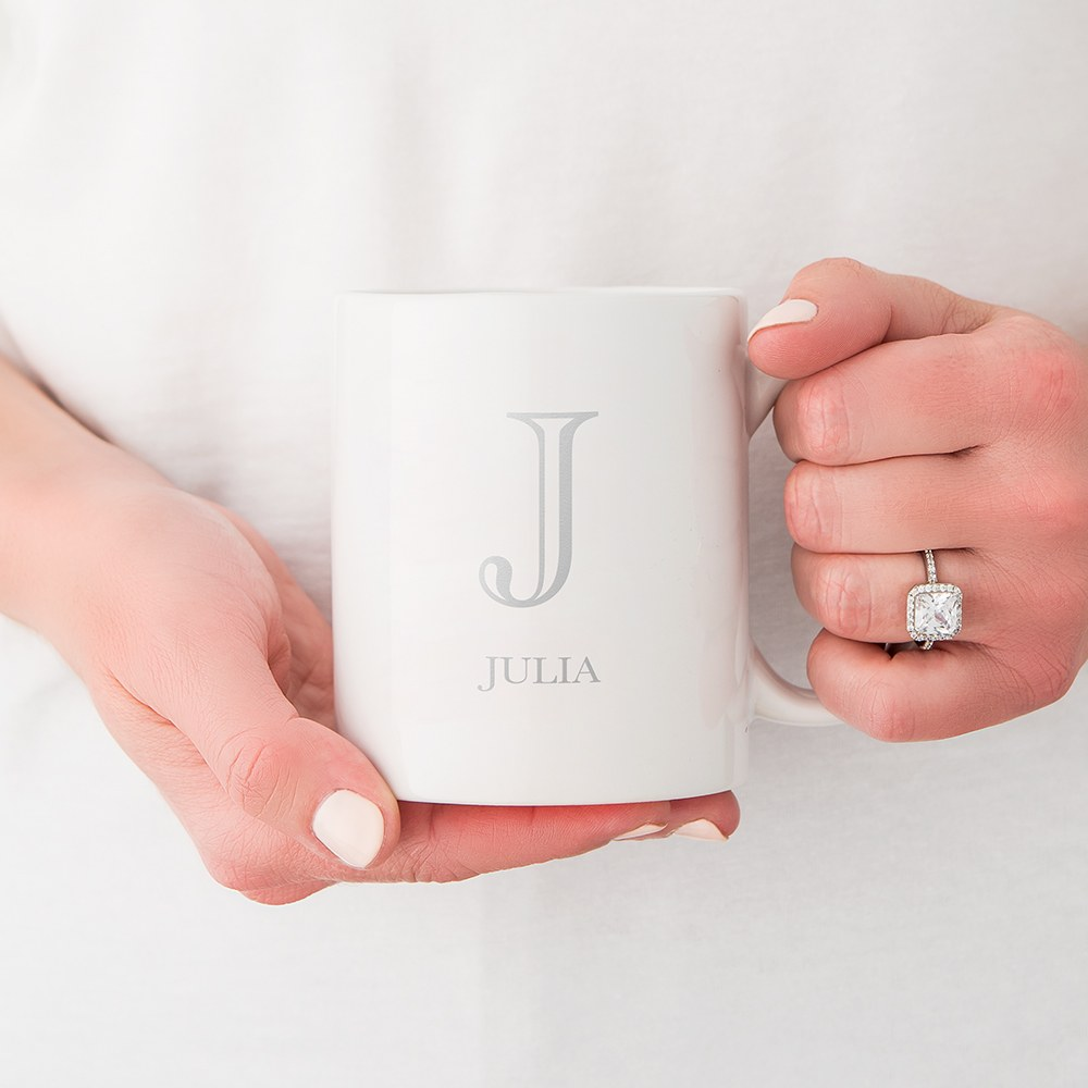Custom White Ceramic Coffee Mug - Classic Monogram Print