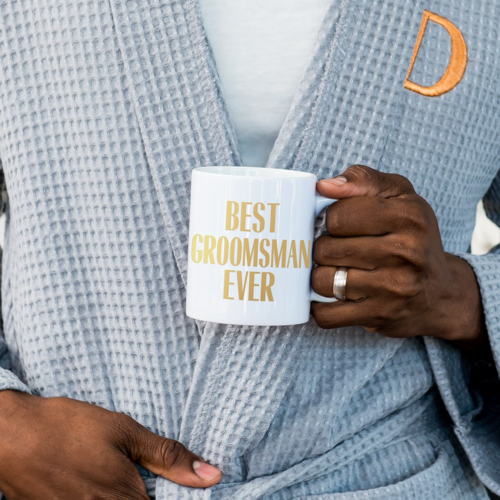 Custom White Ceramic Coffee Mug - Best Groomsman Ever Print