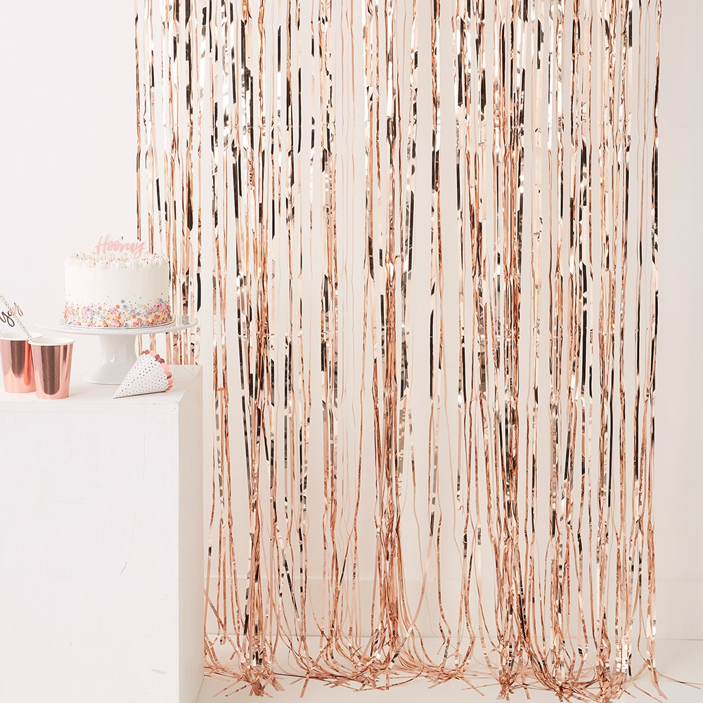 Fringe Curtain Backdrop - Rose Gold