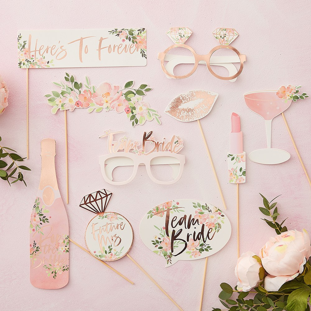 Fun Photo Booth Props on a Stick - Rose Gold Floral