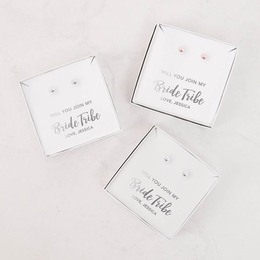 Swarovski Pearl Stud Earrings - Bride Tribe