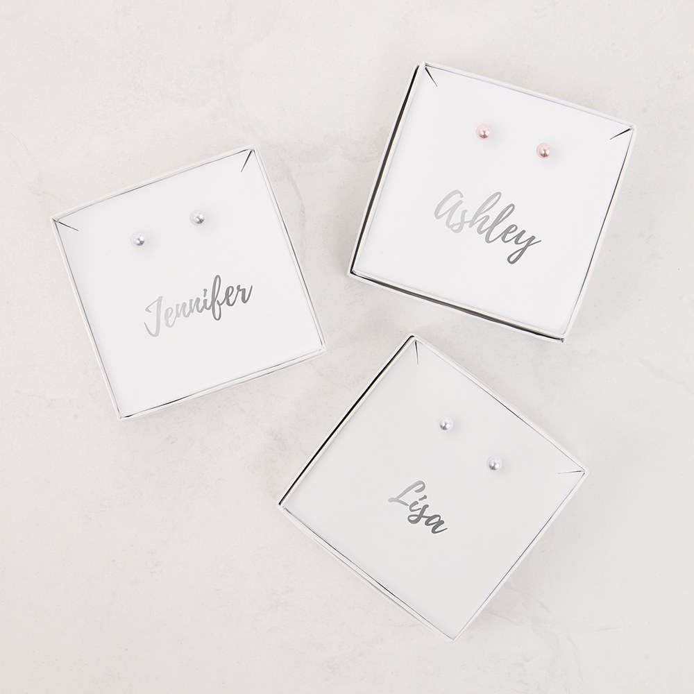 Swarovski Pearl Stud Earrings - Cursive