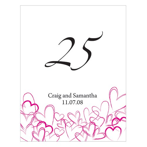 Contemporary Hearts Wedding Reception Table Number card