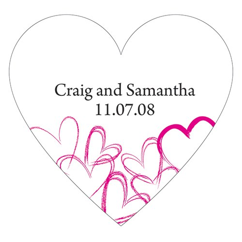 Contemporary Hearts Wedding Favor Heart Sticker