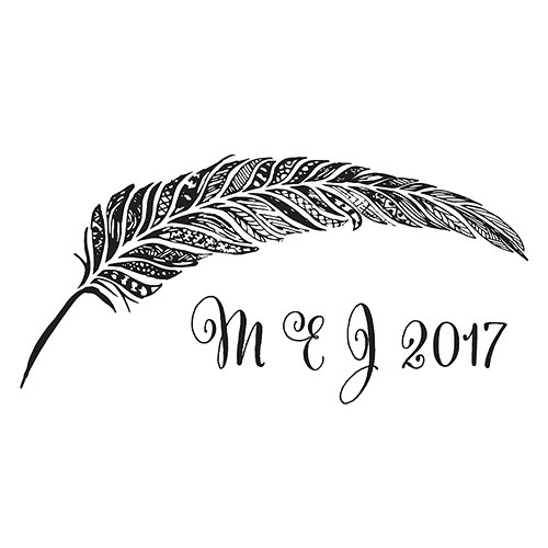 Feather Whimsy Personalized Rubber Stamp