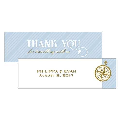 Vintage Travel Small Rectangular Favor Tag   Thank You