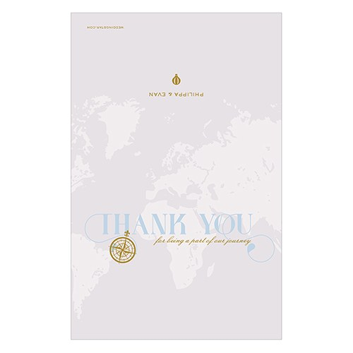 Vintage Travel Thank You Card With Fold