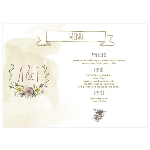 Natural Charm Grapes Large Menu Card