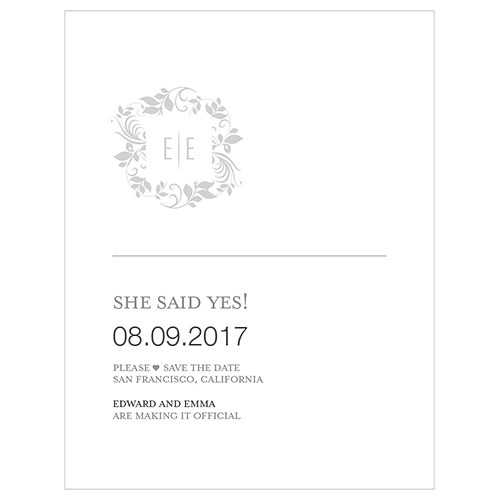 Monogram Simplicity Save The Date Card   Botanical Wreath