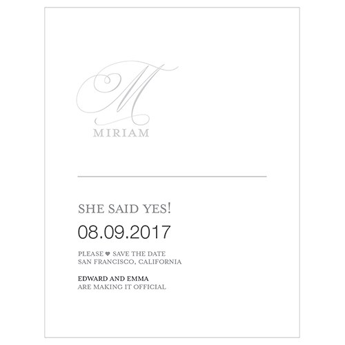 Monogram Simplicity Save The Date Card   Elegant