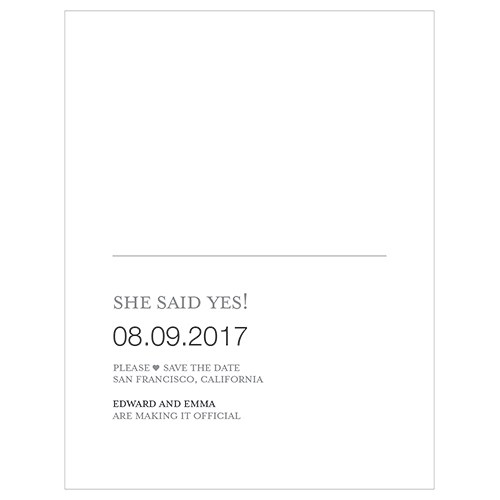 Monogram Simplicity Save The Date Card   Open Area for Embossing/Stamping
