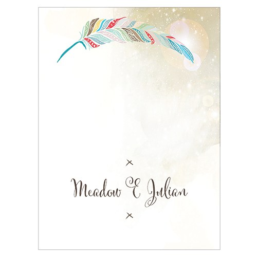 Feather Whimsy Place Card With Fold