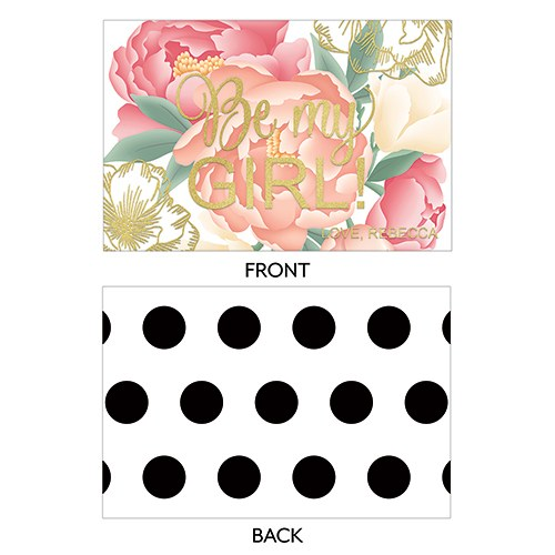 Modern Floral Large Rectangular Card - Be My Girl Foiled Print