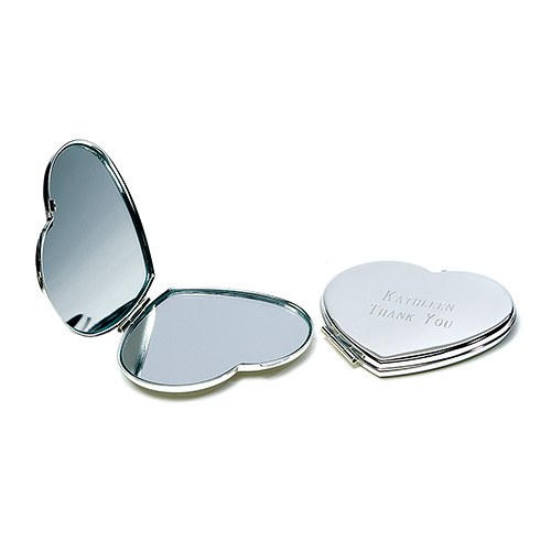 Personalized Engraved Bridal Party Compact Mirror - Heart