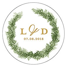 Love Wreath Small Sticker - Monogram