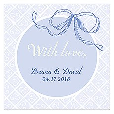 Vintage Romance Square Favor Tag - Bow
