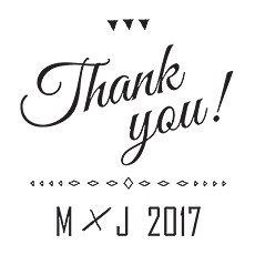 Free Spirit Personalised Thank You Rubber Stamp