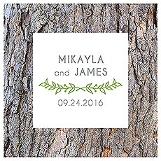 Woodland Pretty Personalised Clear Acrylic Block Cake Topper
