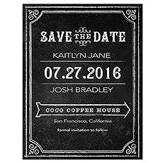Save the Date Card with Chalkboard Print Design