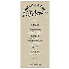 Free Spirit Menu Card
