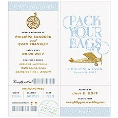 Vintage Travel Boarding Pass Style Invitation With RSVP