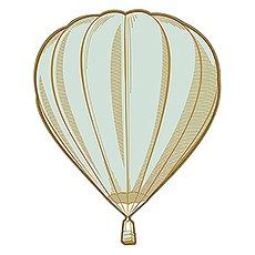 Vintage Travel Hot Air Balloon Diecut Sticker