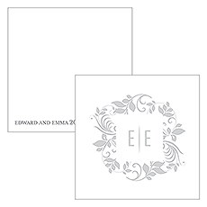 Monogram Simplicity Square Favor Tag - Botanical Wreath