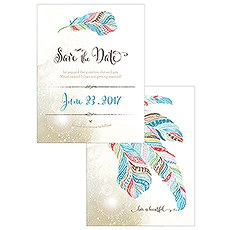 Feather Whimsy Save The Date Card