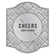 Personalized Beer Bottle Label - Silver Metallic Foil