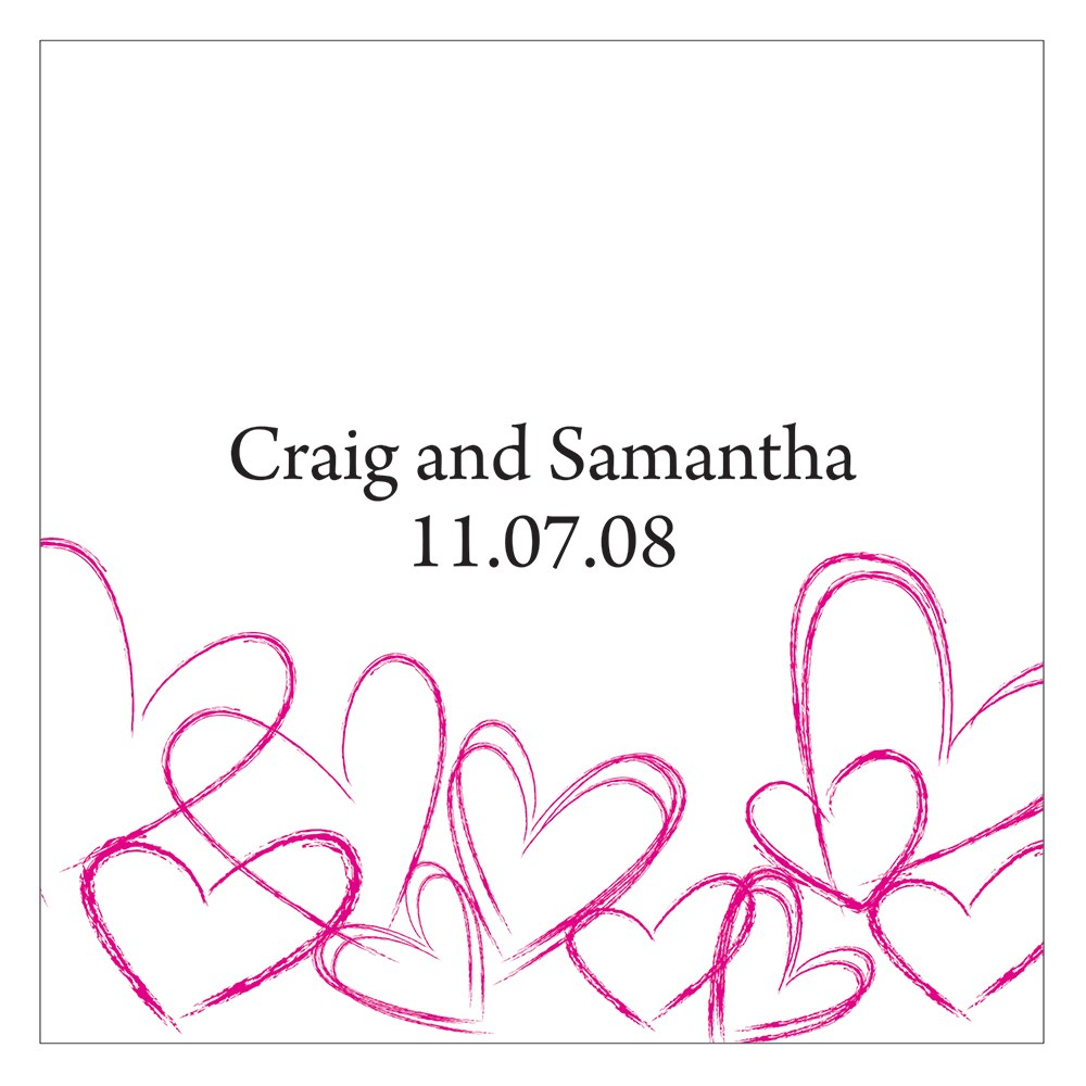 Contemporary Hearts Square Wedding Favor Gift Tag