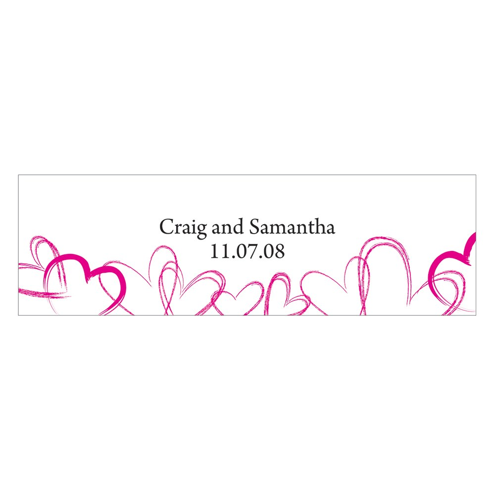 Contemporary Hearts Small Rectangular Wedding Favor Tag