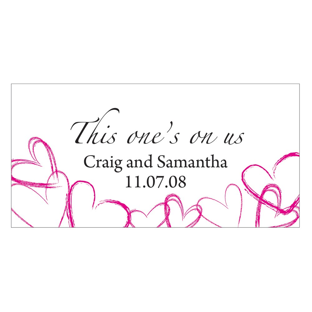 Contemporary Hearts Small Wedding Drink Ticket