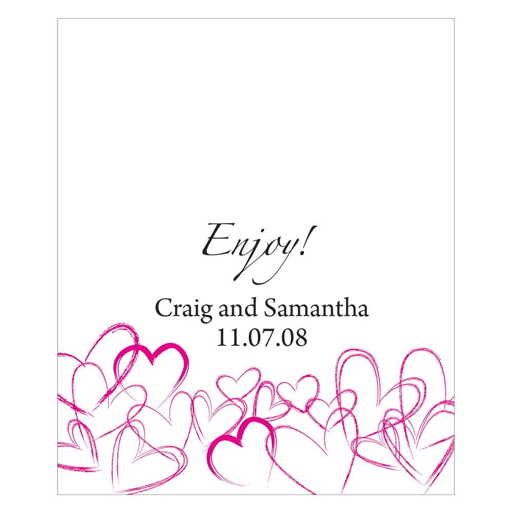 Contemporary Hearts Rectangular Wedding Favor Label