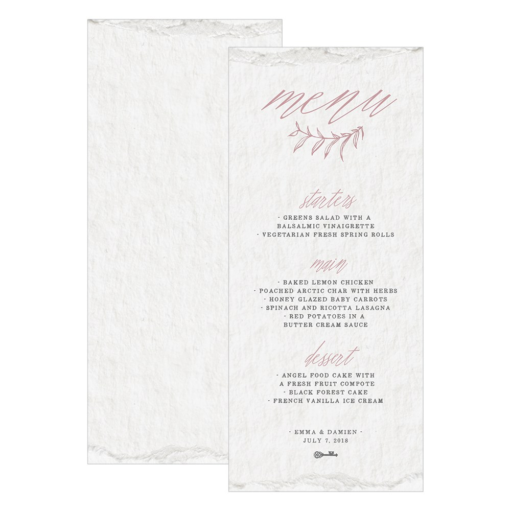 Modern Fairy Tale Menu Card