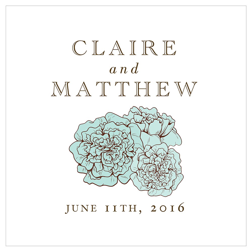 Burlap Chic Personalized Clear Acrylic Block Cake Topper