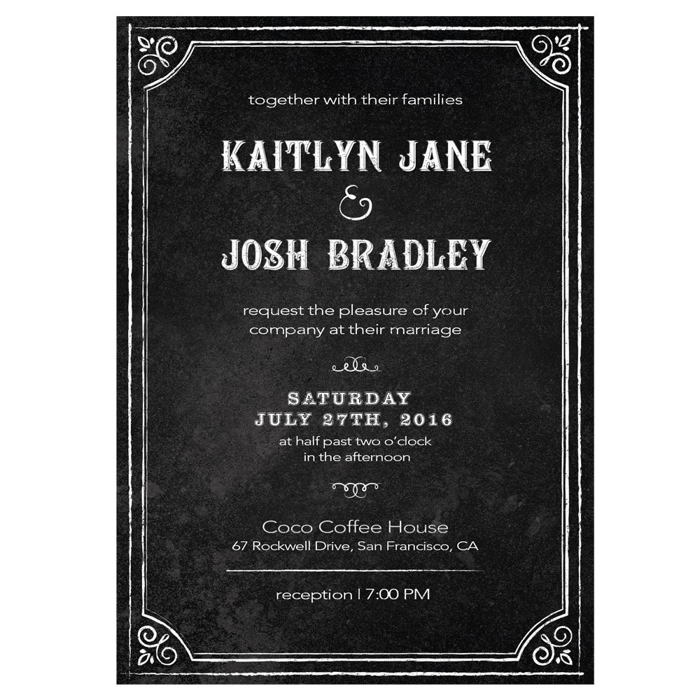 Invitation with Chalkboard Print Design