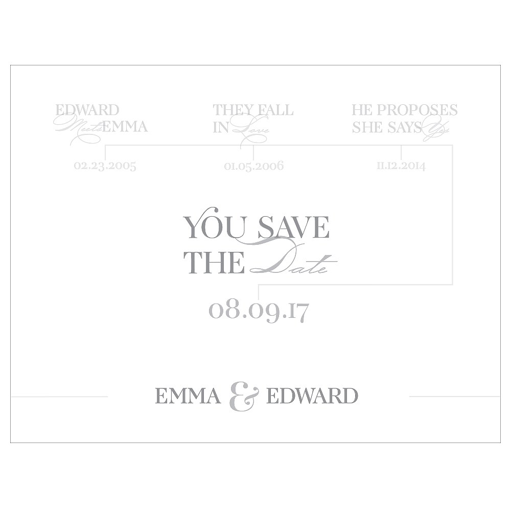 Classic Script Save The Date Card