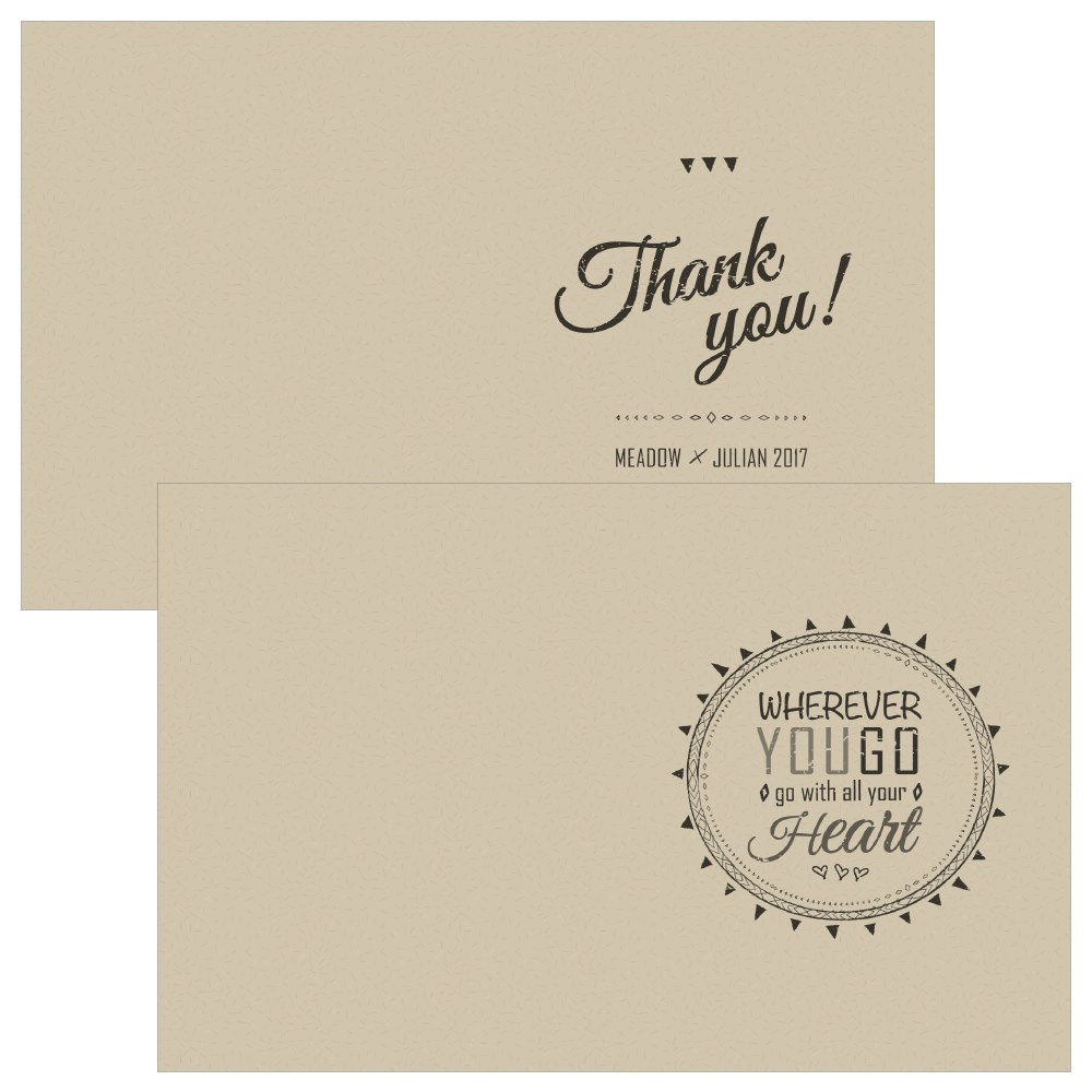 Free Spirit Thank You Card With Fold