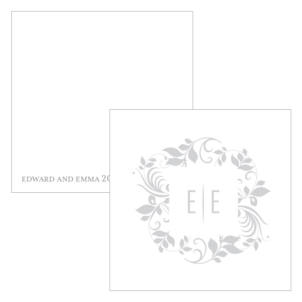 Monogram Simplicity Square Favor Tag   Botanical Wreath