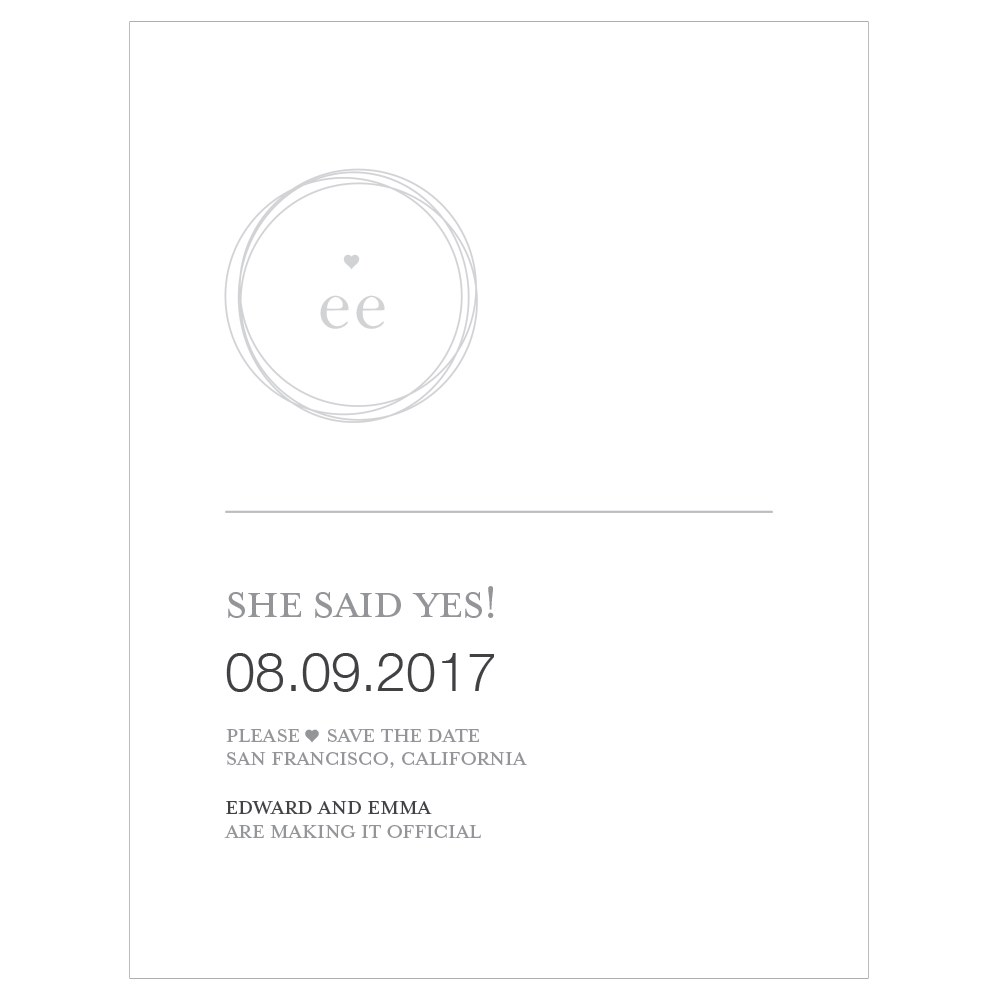 Monogram Simplicity Save The Date Card   Modern
