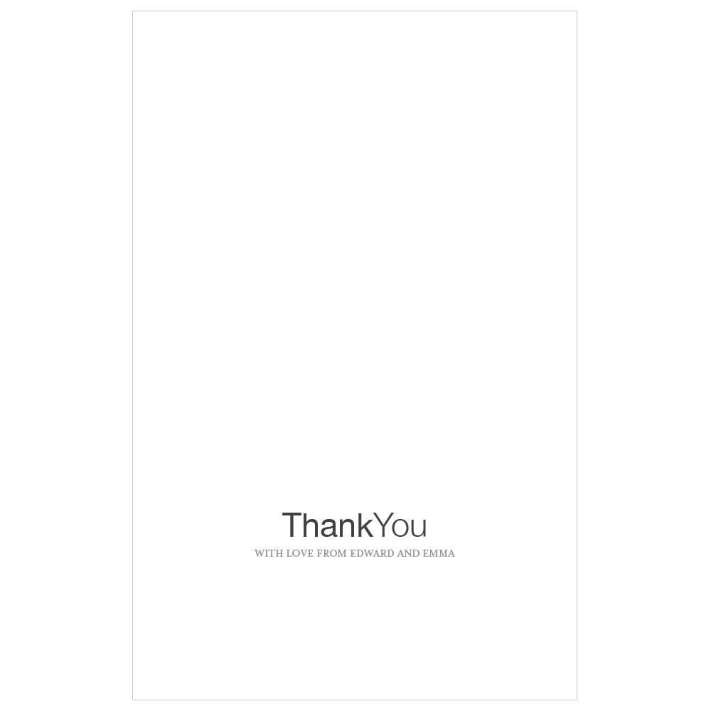 Monogram Simplicity Thank You Card With Fold   Open Area for Embossing/Stamping