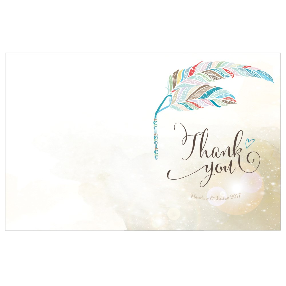 Feather Whimsy Thank You Card With Fold