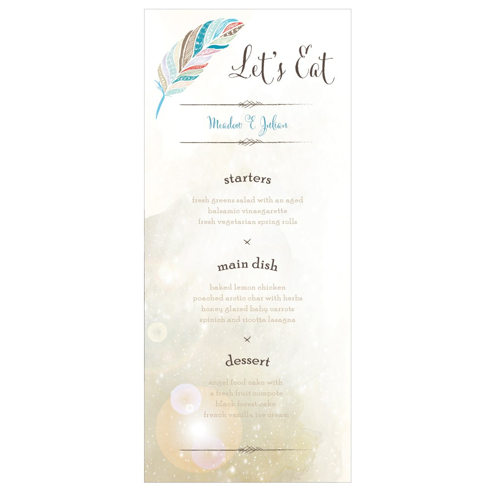 Feather Whimsy Menu Card
