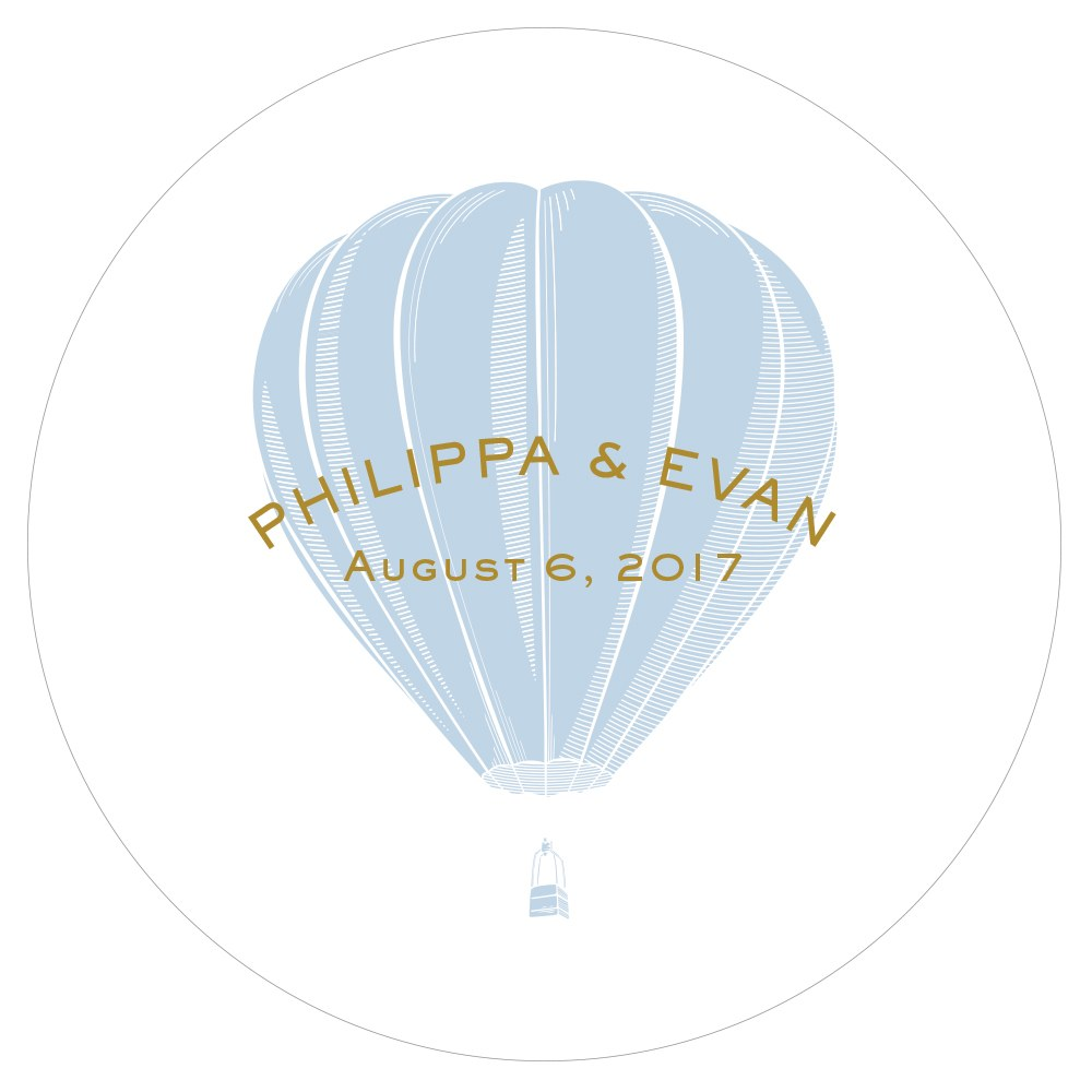 Vintage Travel Engraved Personalized Round  Acrylic Block   Hot Air Balloon