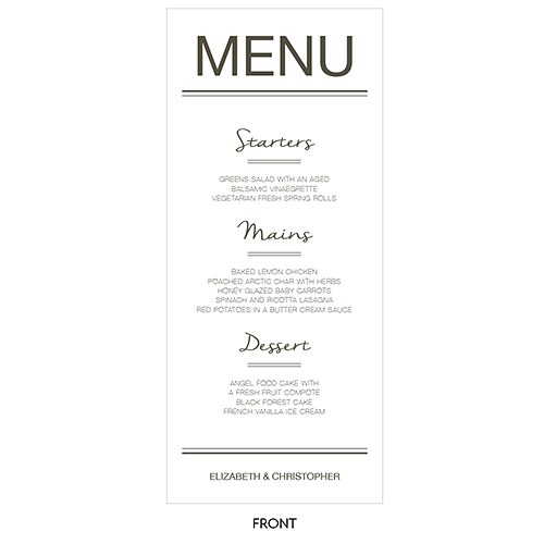 City Style Menu Card
