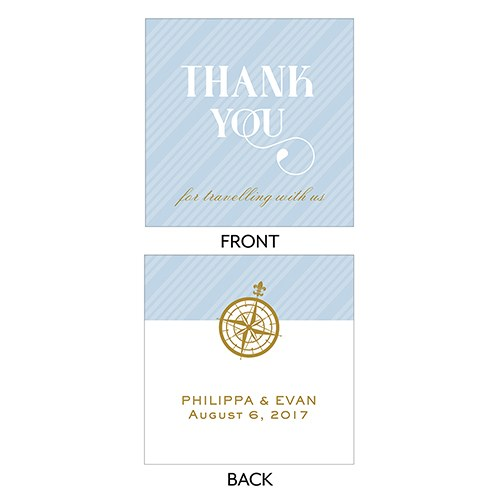 Vintage Travel Square Favor Tag   Thank You